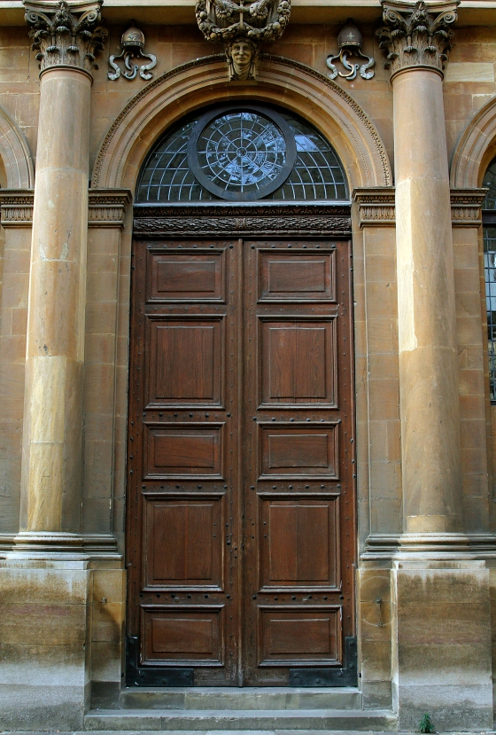Tall brown door, Oxford, England