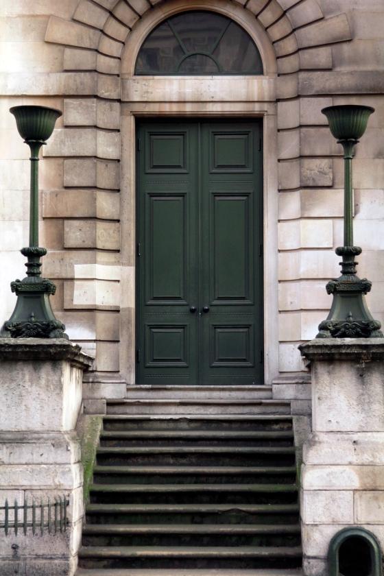 Stately green door, London, England